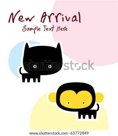cute baby animal twin arrival #63772849