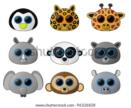 Cute Baby Animals. A set of 9 cute baby animals (includes a Penguin, Leopard, Giraffe, Rhino, Panda, Raccoon, Elephant, Monkey and Hippo. This image contains transparencies. File saved as EPS v 10.