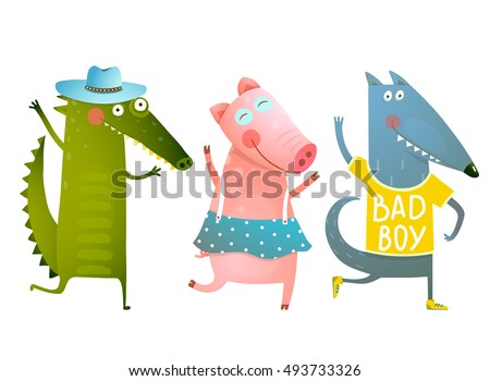 Cute Baby Animals Crocodile Pig Wolf Dancing Wearing Clothes. Cartoon for children dancing or playing game animals. Dog, piggy, alligator friends. Vector cartoon illustration.