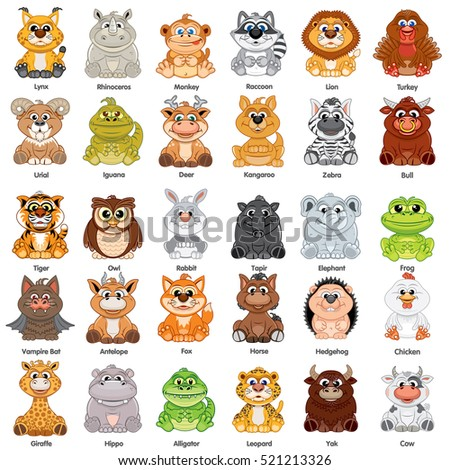 cute baby animals vector clip