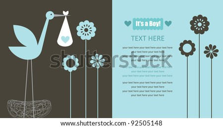 cute baby announcement card. vector illustration
