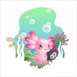 cute baby axolotl vector illustration
