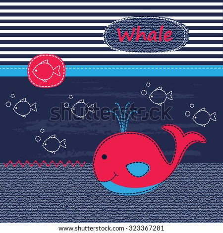 cute baby background with whale