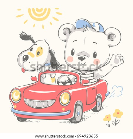 cute baby bear driving car and