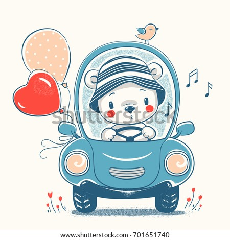 cute baby bear driving car