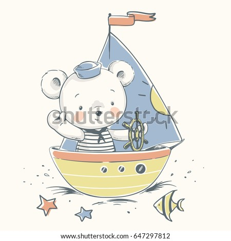 cute baby bear sailor on a boat