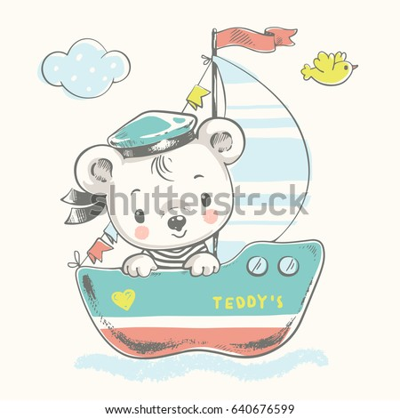 cute baby bear sailor on the