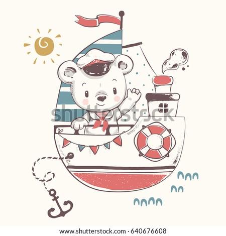 cute baby bear sailor on the...