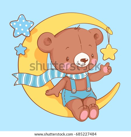 cute baby bear sitting on the