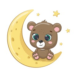 Cute baby bear sitting on the moon. Vector illustration for baby shower, greeting card, party invitation, fashion clothes t-shirt print.