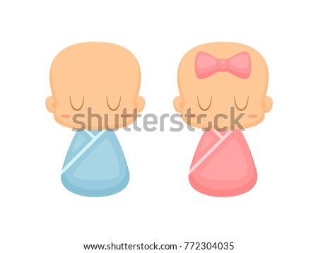 Cute baby boy and girl vector