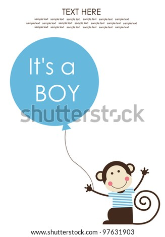 cute baby boy shower with fun monkey. vector illustration