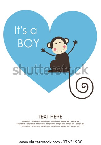 cute baby boy shower with fun monkey. vector illustration - stock vector