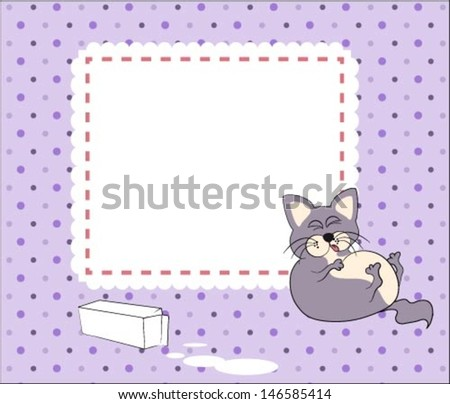 Cute baby card with cat