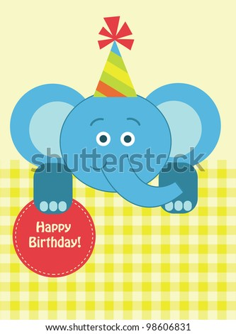 cute baby card with nice elephant .vector illustration