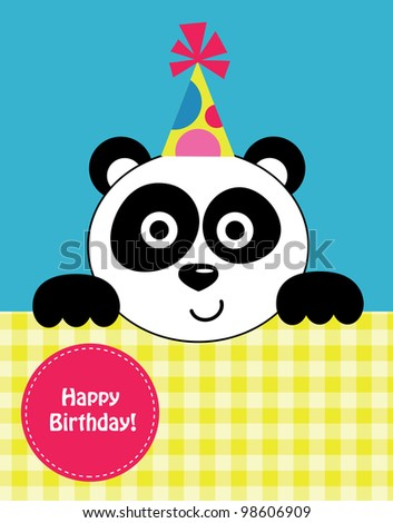 cute baby card with nice panda.vector illustration