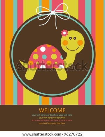 cute baby card with nice turtle. vector illustration