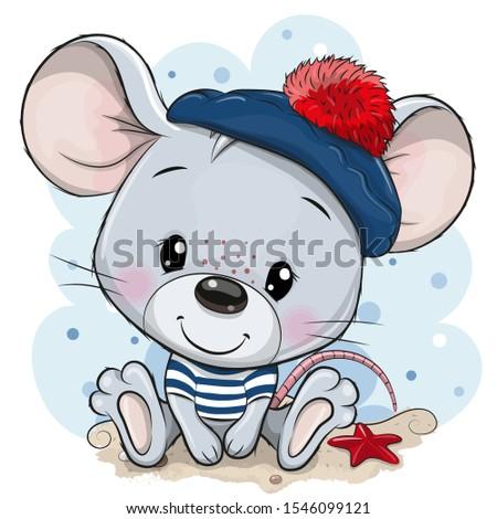 Cute baby cartoon Mouse in sailor costume Foto d'archivio ©