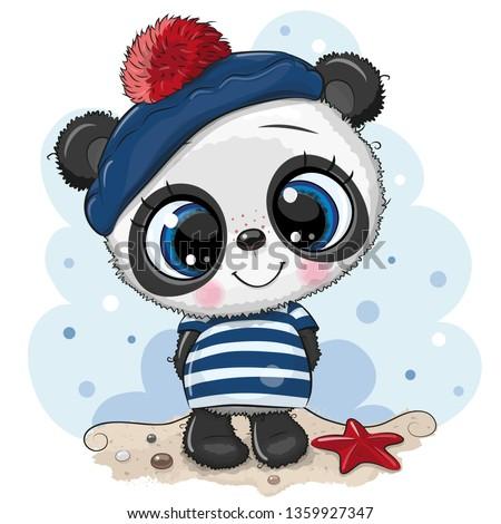 Cute baby cartoon Panda in sailor costume