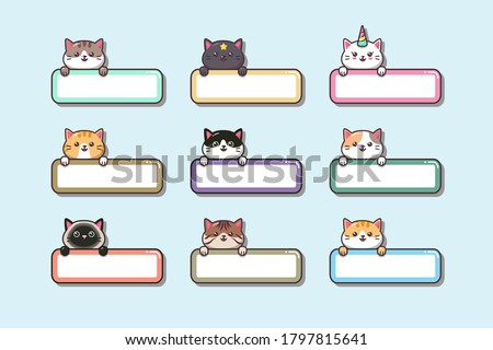 Cute baby Cat Animal Sticker with label name cartoon hand drawn style