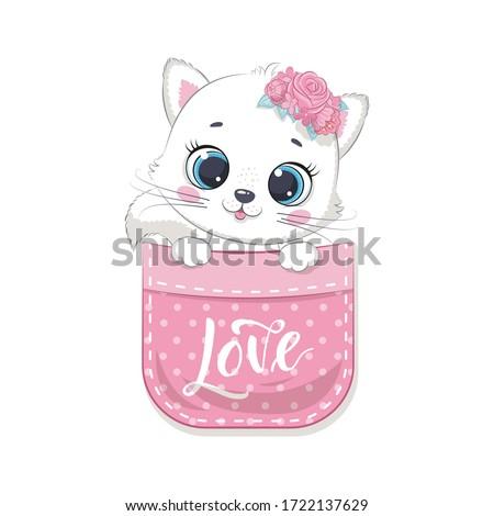 cute baby cat in pocket vector