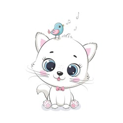 Cute baby cat with bird. Vector illustration for baby shower, greeting card, party invitation, fashion clothes t-shirt print.