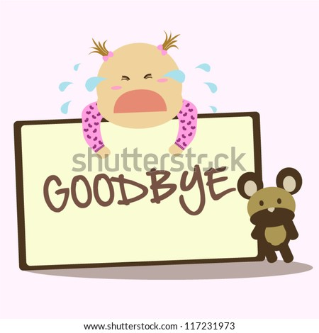 "... holding a ""goodbye"" card for farewell with toy bear on pink background"