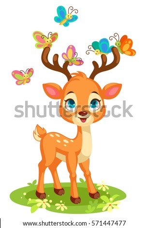cute baby deer and butterflies