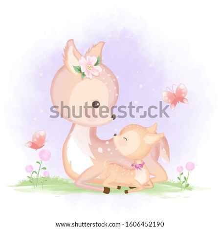 cute baby deer and mother hand