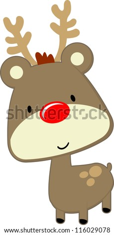 cute baby deer with red nose isolated on white background, vector format very easy to edit