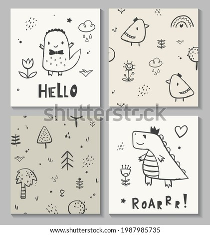 Cute baby dinosaur king. Kids card print template and seamless background pattern set. Perfect for fabric cloth surface design. Hand drawn vector illustration.