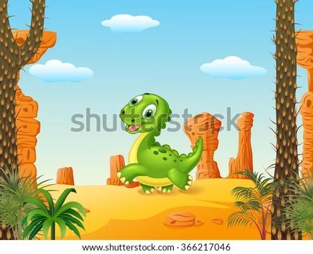 cute baby dinosaur running in