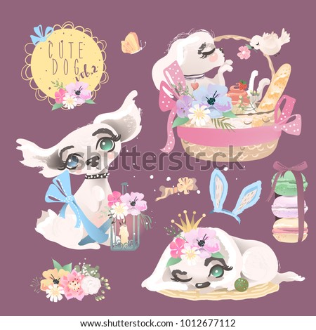 Cute baby dog, puppy, collection, set. Adorable little girl princess dog with flowers, floral wreath, romantic basket, bird, macaroons, butterfly, bunny ears, tied bows and whimsical lantern