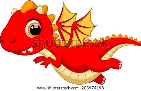 cute baby dragon flying cartoon