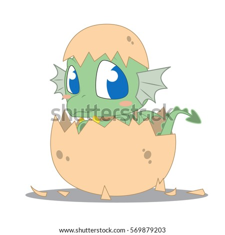 cute baby dragon hatching from