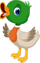 Cute baby duck waving cartoon