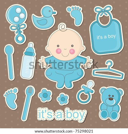 cute baby elements. vector illustration