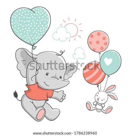 Cute baby elephant and bunny floating with balloons, vector illustration.