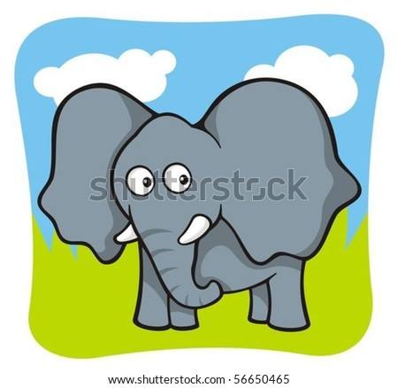 Cute baby elephant cartoon on sky and grass background