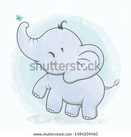 cute baby elephant play with