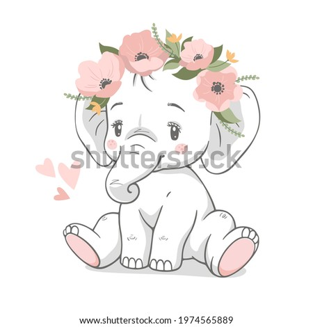 Cute baby elephant with wreath of pink flowers vector illustration. Stock photo ©