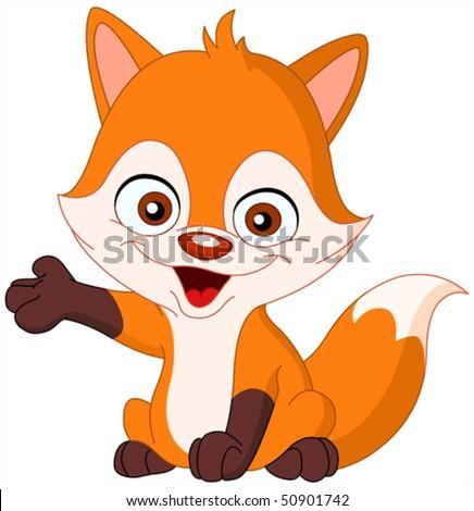 cute baby fox presenting