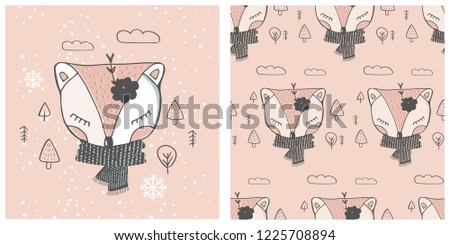 cute baby fox  seamless pattern