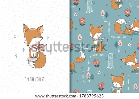 Cute baby fox with scarf, cartoon forest animal character. Kids card print template and seamless background pattern set. Hand drawn surface design vector illustration.