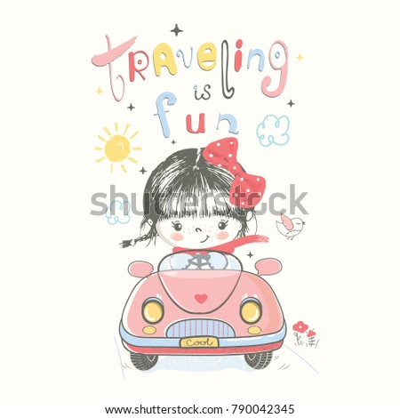 Cute baby gir in car.cartoon hand drawn vector illustration. Can be used for baby t-shirt print, fashion print design, kids wear, baby shower celebration greeting and invitation card.
