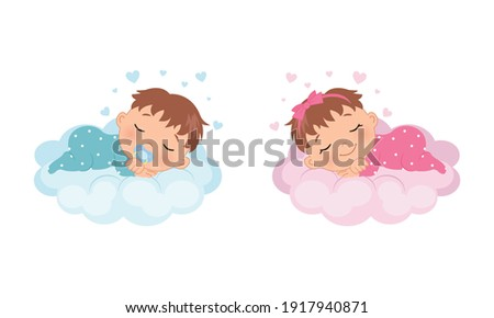 Cute baby girl and boy sleeping on a cloud. Illustration for baby shower, gender reveal, birthday party. Flat vector design. Photo stock ©