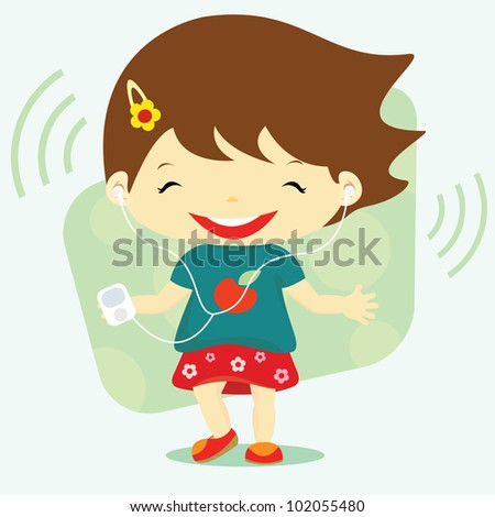 Cute baby girl listen to the music and dancing, design element, vector illustration