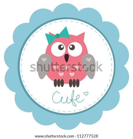 Cute baby-girl owlet against the background of blue rosette