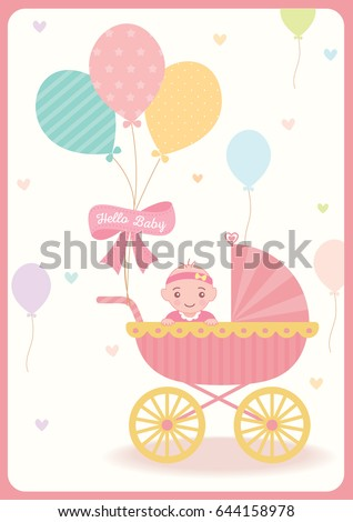 Cute baby girl shower greeting card for new born decorated with baby cute baby girl shower greeting card for new born decorated with baby carriage balloons on pastel m4hsunfo