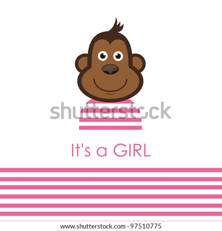 stock-vector-cute-baby-girl-shower-with-fun-monkey-vector-illustration ...